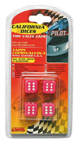 02461California-Dices Rosa Set 4 tappi coprivalvola stile custom USA per auto