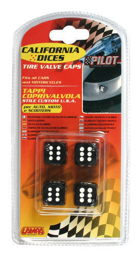 02460 California-Dices Nero Set 4 tappi coprivalvola stile custom USA per auto