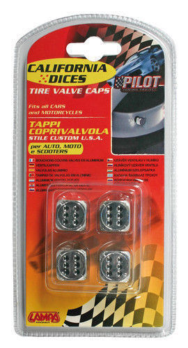 02464 California-Dices Cromo Set 4 tappi coprivalvola stile custom USA per auto