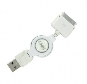 Cavo per ricarica USB > Dock 30 pin  Per iPod, iPhone e iPad.Cavo retrattile da