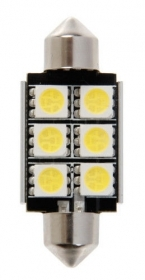 12V Hyper-Led 18 - 6 SMD x 3 chips - 15x41 mm - SV8,5-8 - 1 pz - D/Blister - Bia