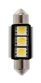 12V Hyper-Led 9 - 3 SMD x 3 chips - (C5W) - 11x35 mm - SV8,5-8 - 1 pz - D/Bliste