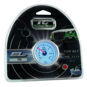 Manometro turbo Tuning Guru EL 52mm (misura standard), illuminazione interna blu